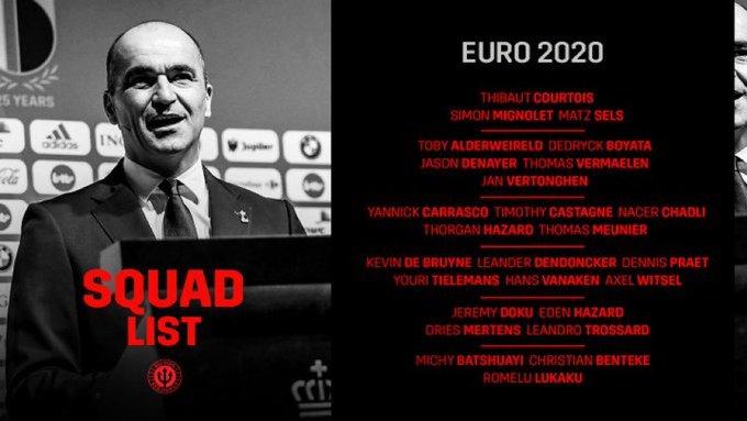 قائمة منتخب بلجيكا لبطولة اليورو
