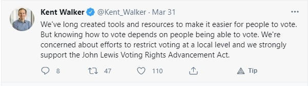 "@RSLC @Google @Citi @Deloitte 4. These companies are funding a GOP voter suppression group while claiming to be champions of voting rights  @Kent_Walker, @Google's SVP for public affairs, tweeted on 3/31 that the company is ""concerned about efforts to restrict voting at a local level""  https://t.co/zqW5JnPKS6 https://t.co/52kpvGN9RT"