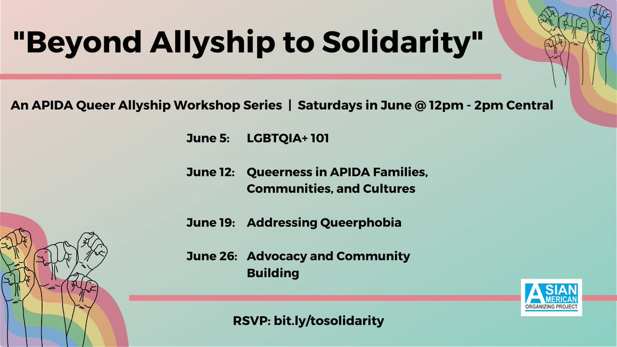 Join our friends at @aaopmn this Saturday learn about the queer liberation movement, important terminologies, and more! #pride #Knowledgeispower #PrideMonth https://t.co/mGUaVUwK49