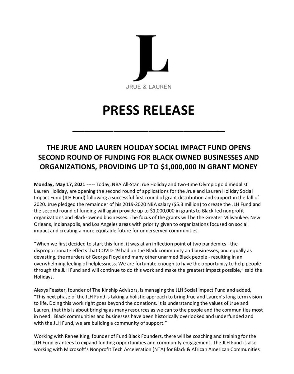 Check out the JLH Fund Press Release to see how to apply today for @thejlhfund #socialimpact grants. Grants will total up to $1,000,000 for Round 2! https://t.co/HcRdb98BAX