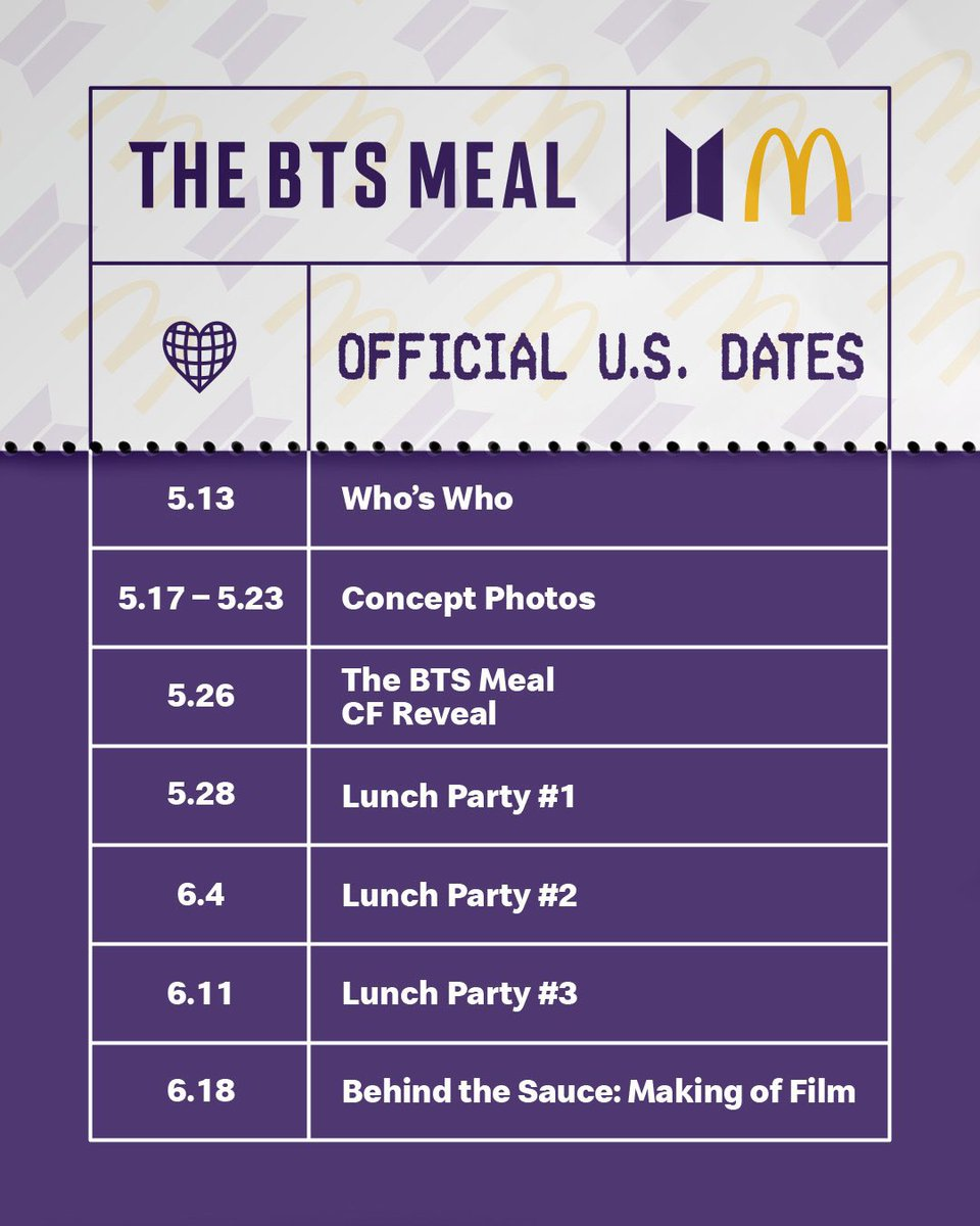 We'll get each members McDonald's concept photo every day til 5/23. Let's make it trend and use it to promote Butter army legends!!!  #BTSxMcdonalds #BTSMeal