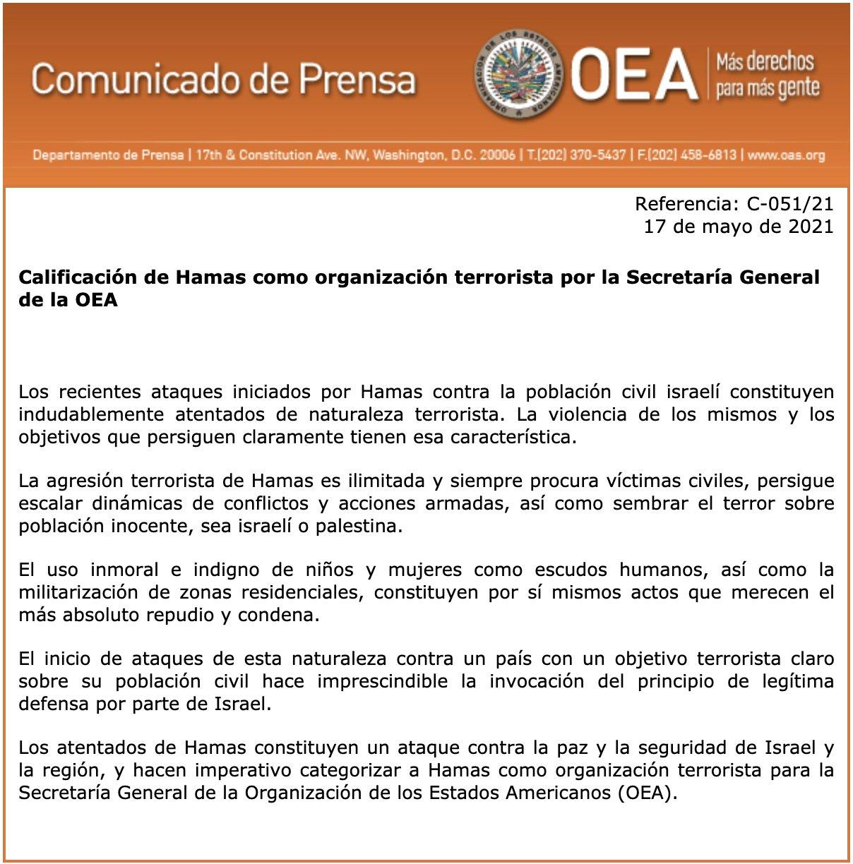 """OEA on Twitter: """"Calificación de Hamas como organización terrorista por la Secretaría  General de la OEA https://t.co/8MJ8CQNGFV… """""""