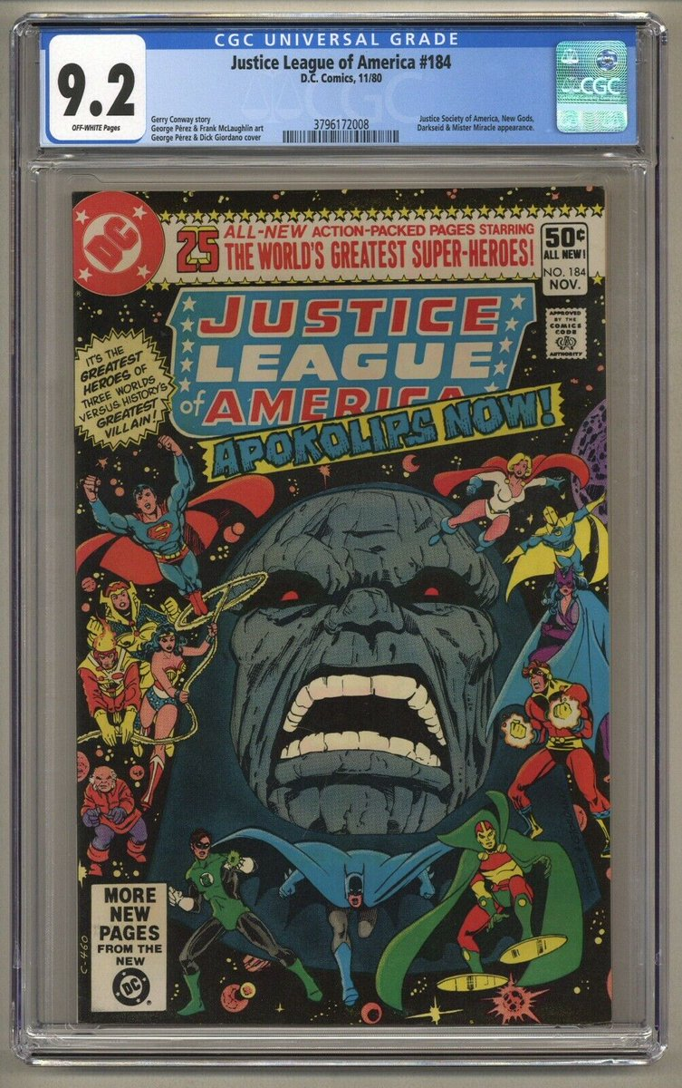 "Justice League of America 184 (CGC 9.2) 1980  Check out this George Perez & Dick Giordano cover for ""Apokolips Now!"" JLA, New Gods and JSA team up to fight Darkseid!  Buy It Now:   #NewGods #Darkseid #JLA #JSA #JusticeLeagueOfAmerica #SnyderCut #gdcomics"