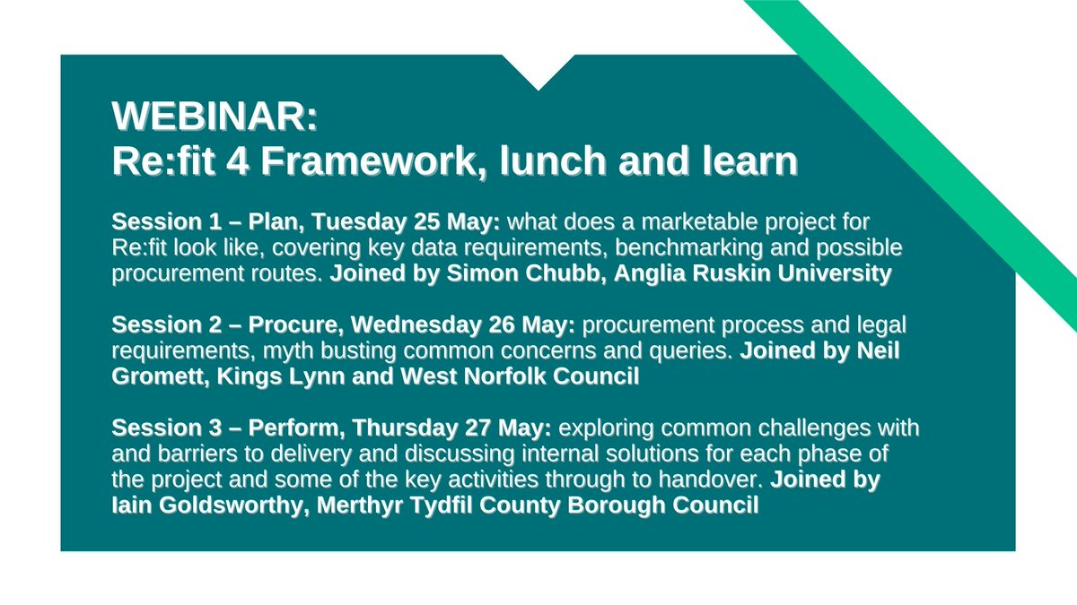 Refit provides #localgov opportunity to address carbon emissions  The #Refit team & public sector clients will share their  experiences in a #Webinar series: 👉 planning and preparation 👉 procure  👉 perform & delivery  12.00-12.30pm, 25-27 May  Register: https://t.co/g6e4OFYhBS