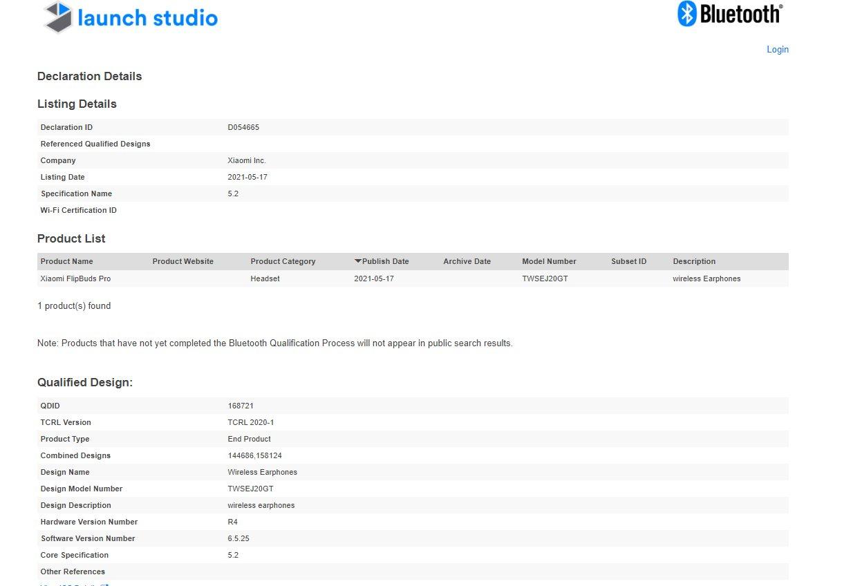 Certificación Bluetooth Xiaomi FlipBuds Pro