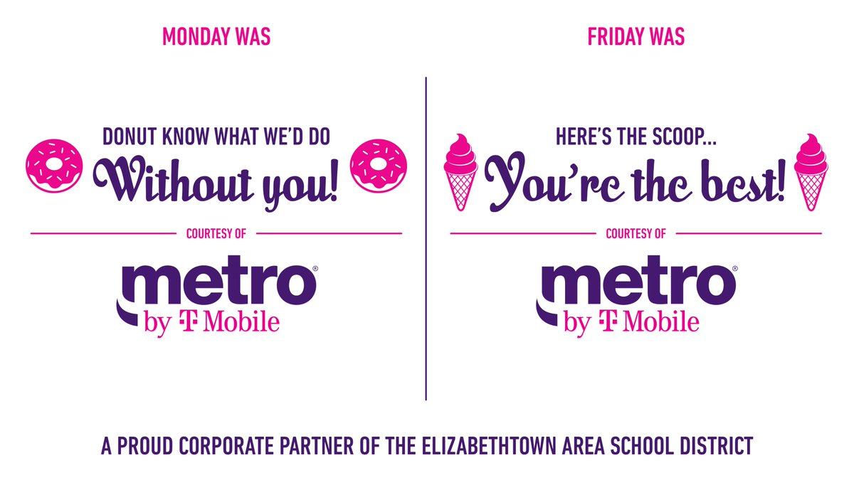 Our thanks to @MetroByTMobile for supporting @etownPAschools teacher appreciation week. @TMobile is also supporting our communities with their project 10 million. Know a student that could benefit from free internet? https://t.co/rf8QCsM6p0 https://t.co/YhAVunovfl
