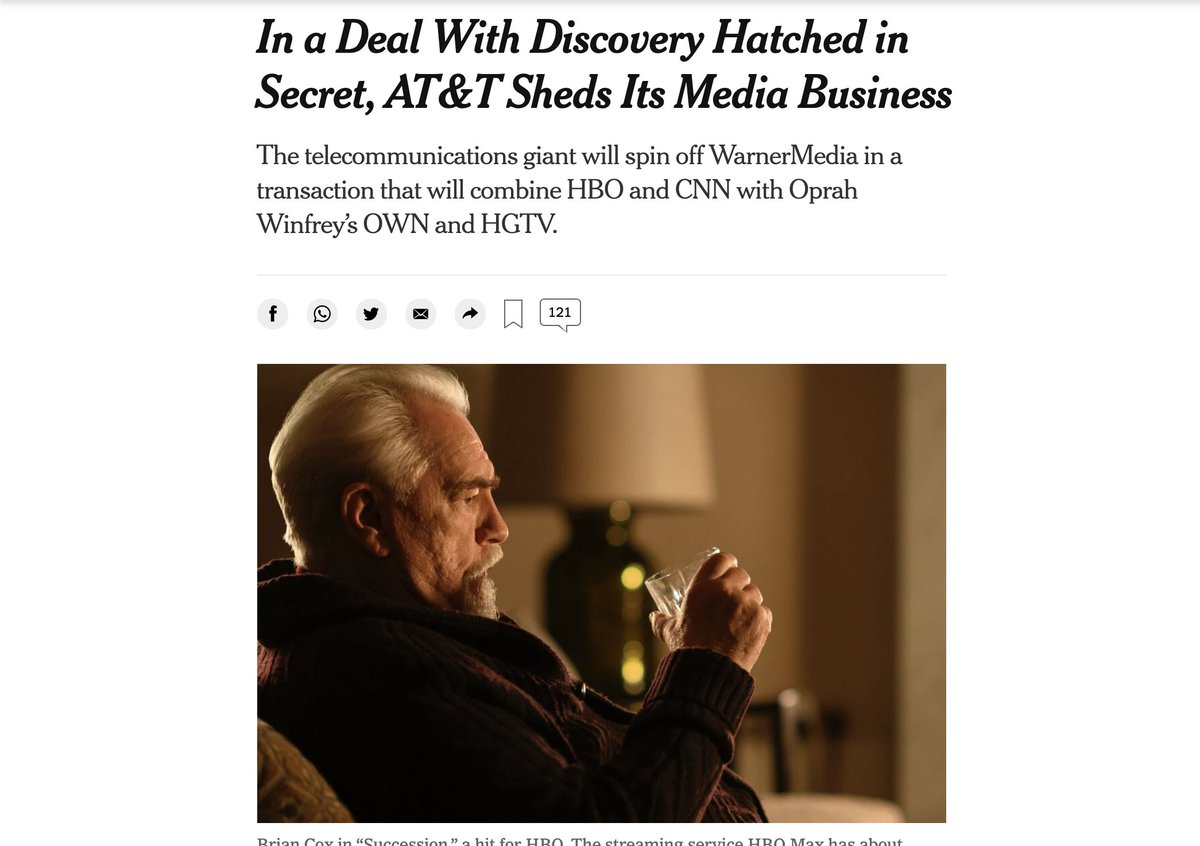 """I wonder if the New York Times media desk watches """"Succession.""""  I also wonder if David Zaslav is thinking """"What do I have to do to get my picture in the New York Times?"""" https://t.co/cA2iItvYhb"""