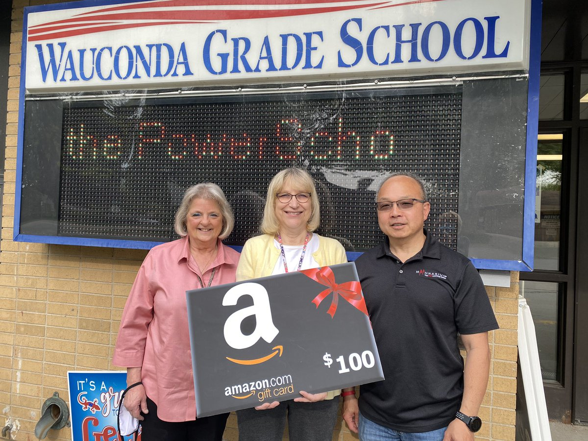 Special shout out to Mathnasium's Oscar Im for recognizing D118 staff with Amazon gift cards for Teacher Appreciation Week! Our very own Ms Hankey & Mrs Miglans were recognized, as well as Mr. Smith & Mrs Weldon, who have also taught at WGS! #wgs118life @WaucondaGS118 #d118life https://t.co/4LQG7o3yAu