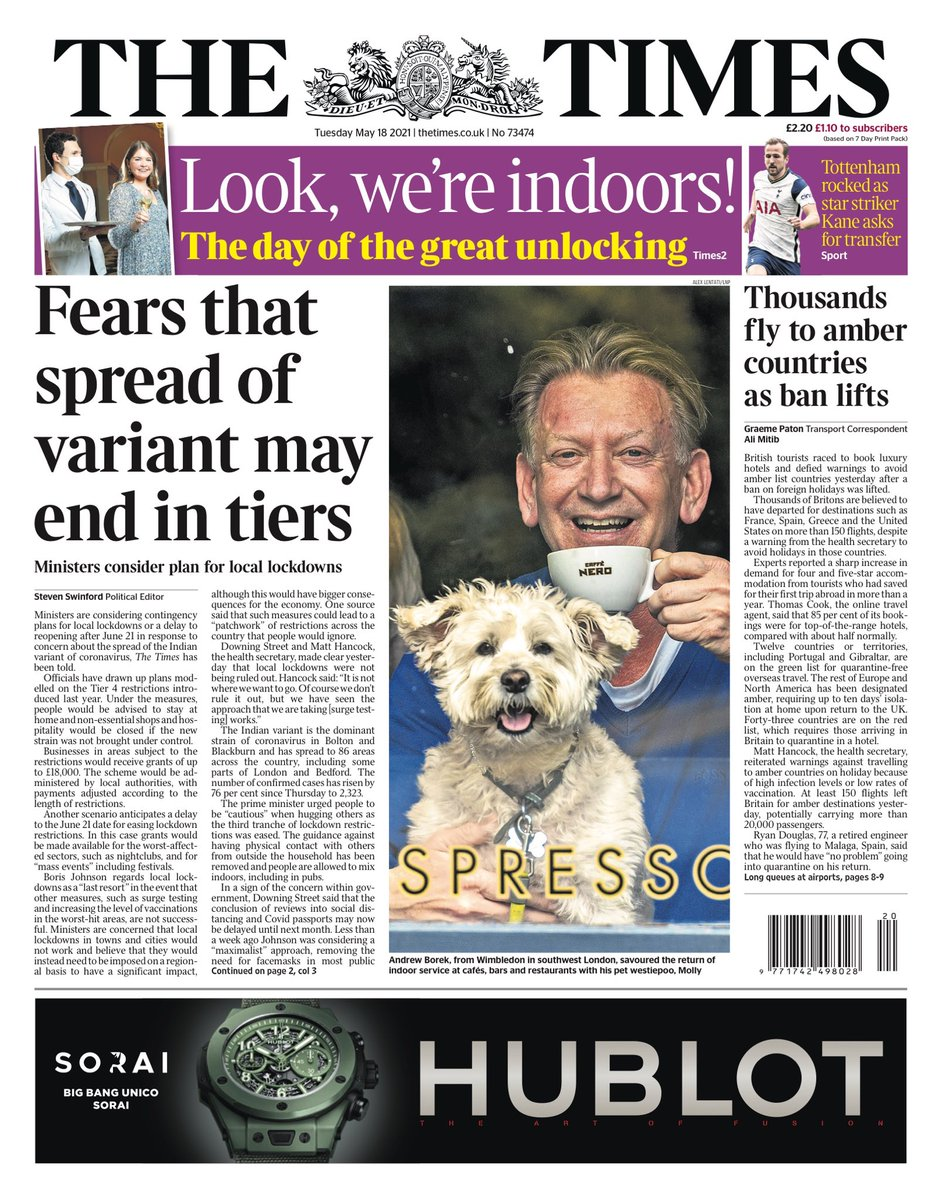 """RT @AllieHBNews: Tuesday's TIMES: """"Fears that spread of variant may end in tiers"""" #TomorrowsPapersToday https://t.co/koYmn7yN83"""