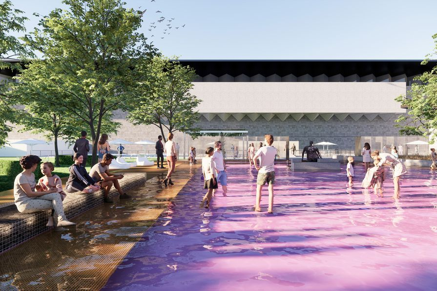 For the #2021ArchitectureCommission, a pink pond evoking Australia's inland salt lakes will be constructed in the #GrolloEquisetGarden at #NGVInternational.  #Australia #infrastructure #architecture #construction #sydneybuild #australiabuild #design https://t.co/TYYt5UGGbM