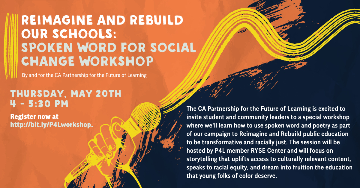 Arts and culture is a powerful tool for racial justice, healing, youth & family voice. Pls share this free Spoken Word workshop to #ReimagineCAschools with youth and community leaders!!
