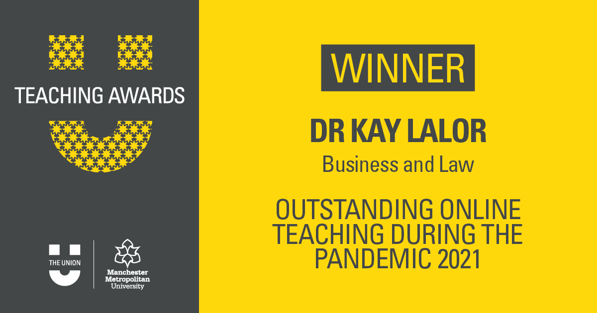 """And the winner is…  Dr Kay Lalor @Kaylalor  """"Kay has adapted exceptionally to the very difficult current circumstances we are in, and has gone above and beyond to make the information for the Human Rights module accessible and enjoyable."""" https://t.co/uy5xOzsQ3l"""