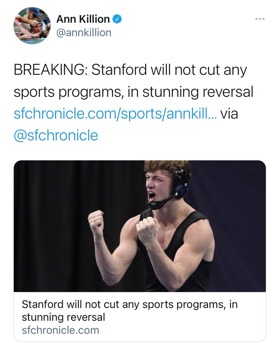 O my goodness!!!!!!!!!!!!!!!! If this is true this is amazing! @annkillion broke the story just right now. https://t.co/rQZ7IHNL6q @SaveStanford @KeepStanfordWRE this is insane. Congrats and great job acknowledging the wrong decision was made @Stanford amazing. Great day https://t.co/BNULr6tc2r
