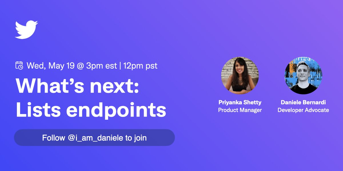 Join @_priyankashetty and I as we talk the future of Lists in the v2 #TwitterAPI. Tell us what works and what we should consider building on our Space tomorrow at 12pm PT. https://t.co/m0rS6isJr3
