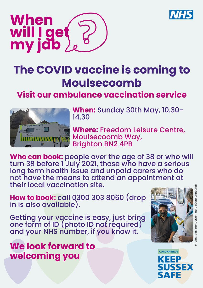 RT @TrustDevCom: More opportunities to get your Covid 19 vaccination locally with visits to Moulsecoomb on 30th May https://t.co...