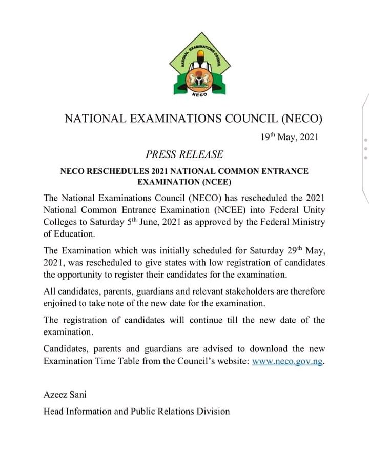 NECO Reschedules National Common Entrance Examination for 2021