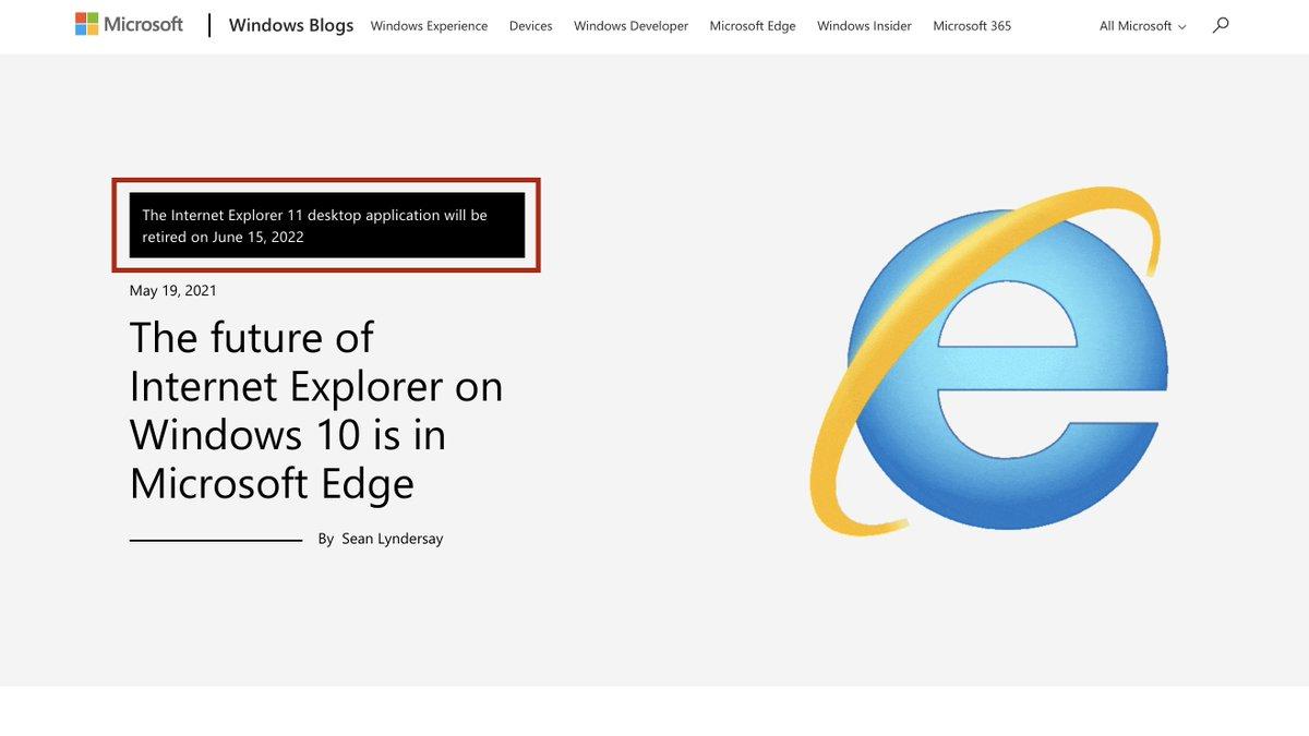 マイクロソフトがInternet Explorer 11の提供終了を発表!
