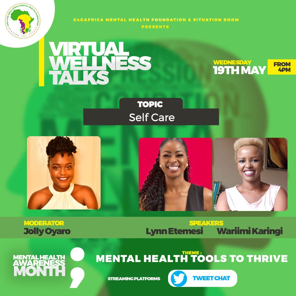 Good evening and welcome to today's virtual wellness talk on Selfcare courtesy of @G4G_Africa and @AuthorQueentah with our speakers @Lynetemesi and @Wairimuwraps  #mentalhealthtoolstothrive https://t.co/vHupp7aS3e