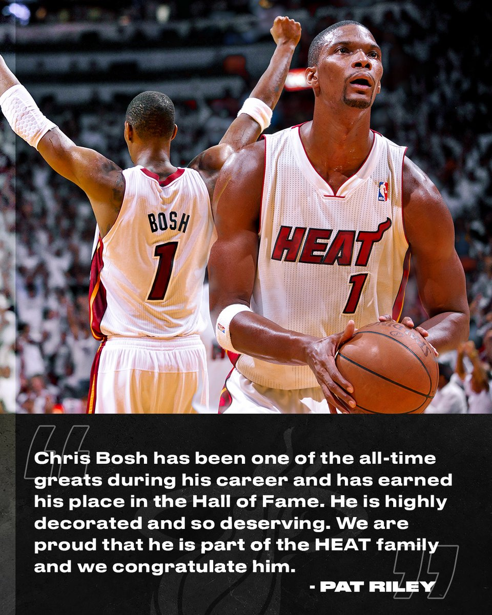 Our 5th franchise Hall of Famer  Congrats again, @ChrisBosh! https://t.co/VOE8muhnLu