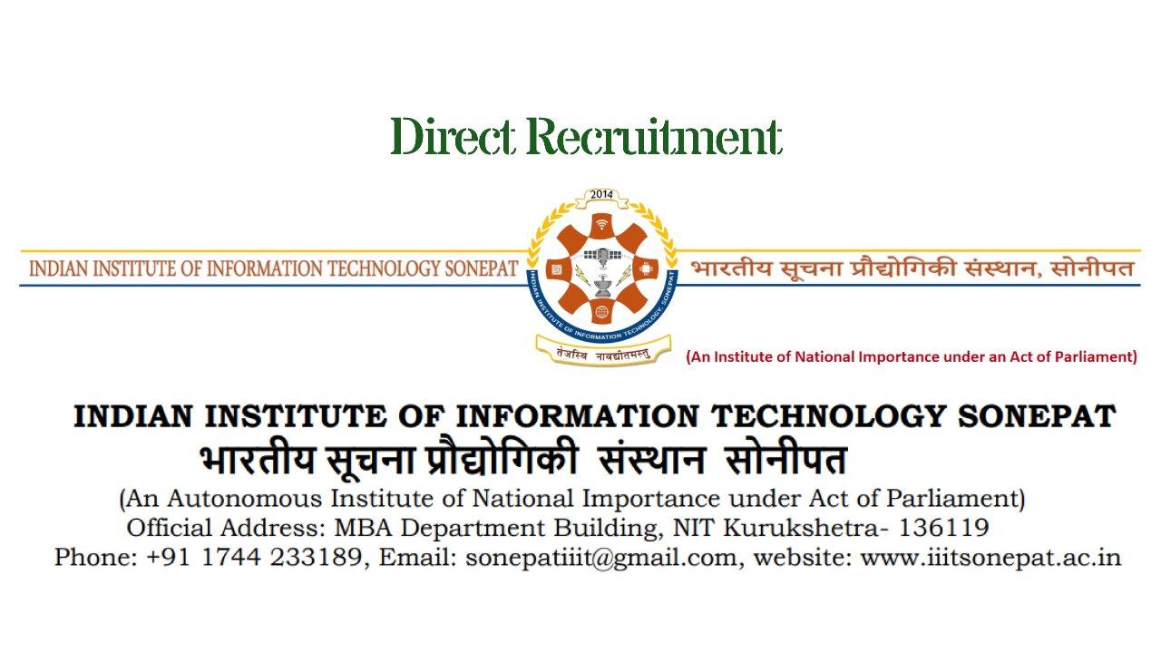 Assistant Professor Jobs in India (Direct Recruitment), IIIT Sonepat, Haryana