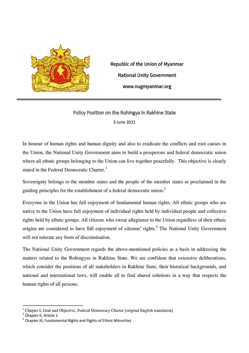 This is a welcome step forward by the @NUGMyanmar towards the #Rohingya, and something will help our common cause in ending the military dictatorship. But this policy is far from perfect, and there is much left to clarify. (1/8)  #WhatsHappeningInMyanmar  #June3Coup #Myanmar https://t.co/vaupAUMxQM
