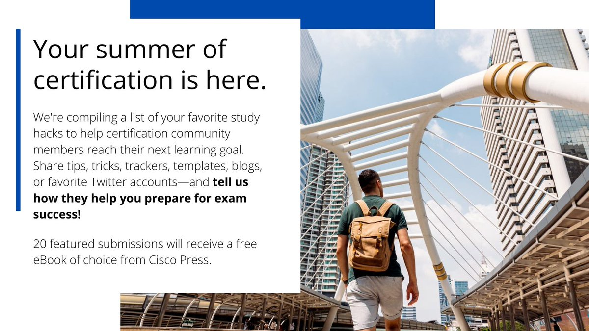 We have some great submissions so far. Share your favorite study tip or resource for the chance to win a free Cisco Press eBook, and help the #CiscoCert community have a successful #SummerOfCert! Entry deadline is June 15.   #CCNA #CCNP #CCIE #DevNet #CyberOps