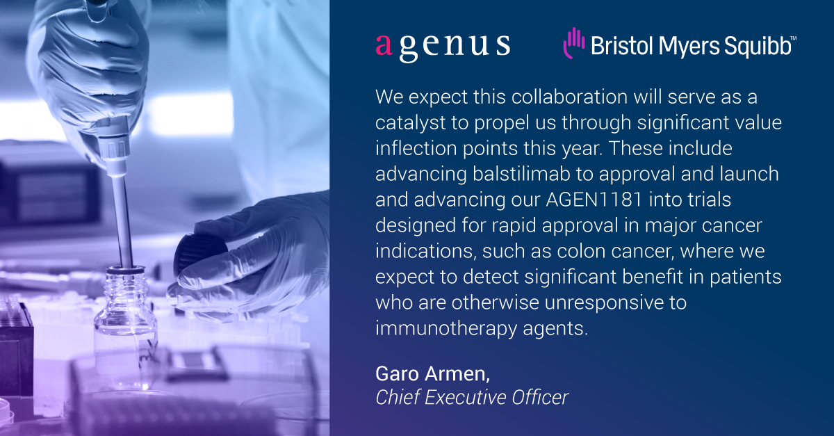 test Twitter Media - Agenus' collaboration with @bmsnews will allow us to accelerate the advancement of our differentiated pipeline while also giving us greater optionality as we pursue the best development strategy for each individual asset.  https://t.co/hrT0IaZQ95 https://t.co/aTXoTlwhUj