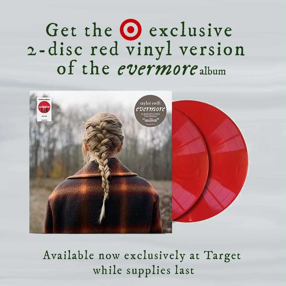 Today only 🎯 Visit your local @Target to receive 20% off the #evermorealbumVinyl. Discount applied at register. @taylorswift13 @taylornation13 https://t.co/fG8OSzsqI8