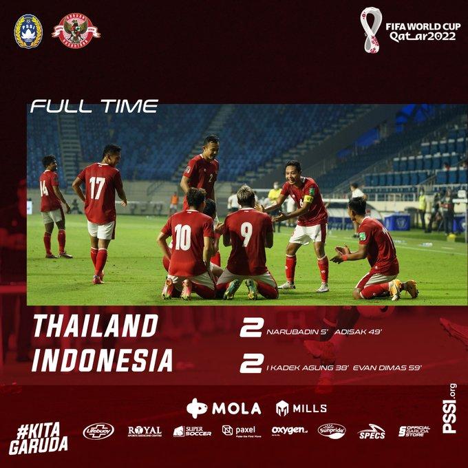 Skor akhir Thailand 2-2 Indonesia