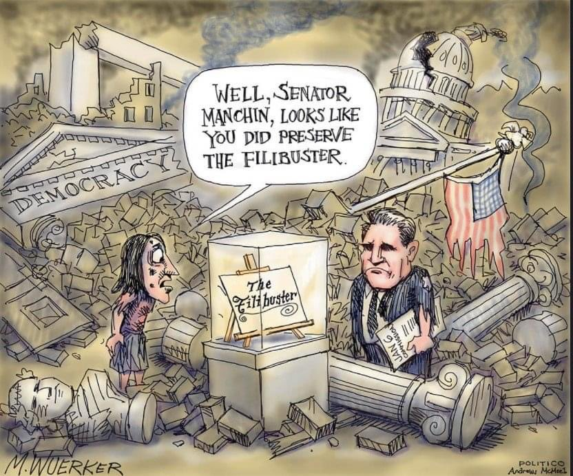 """Robert S. McElvaine on Twitter: """"Cartoons can be so powerful in getting to  the point. Take a look at this one, Sen. Manchin (and Sinema). #democracy  #savedemocracy #filibuster #manchin #sinema #patriotism…  https://t.co/XSdphs7ggm"""""""