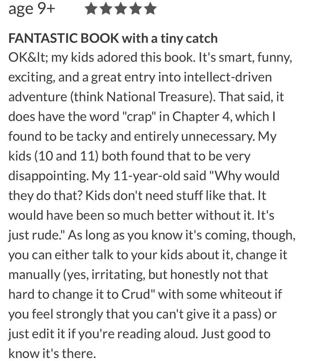 Anybody agree with what the book reviewer wrote here?!