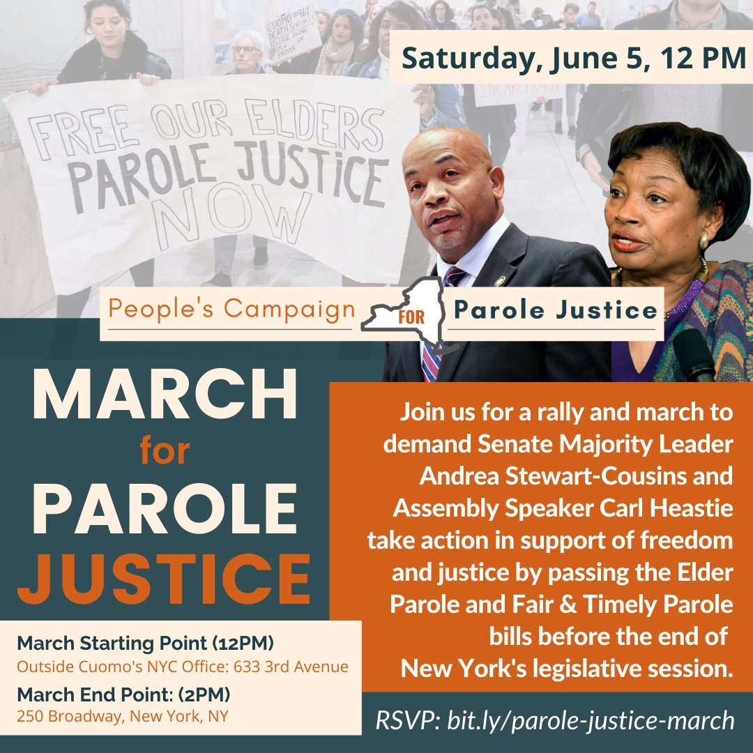 With less than three weeks left of session, we must make it clear to #nyleg, @AndreaSCousins, @CarlHeastie, @NYSenDems, & @NYSA_Majority: pass Elder Parole + Fair & Timely Parole NOW!  Make your voice heard, RSVP for a rally on 6/5 for #ParoleJusticeNY https://t.co/Ak5YJ11Unl https://t.co/v36mIV7loY