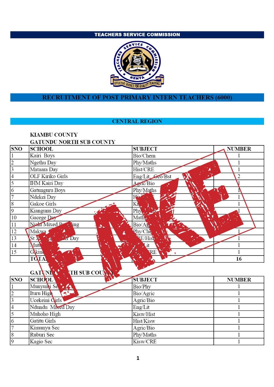 The fake list of advertised TSC internship vacancies.