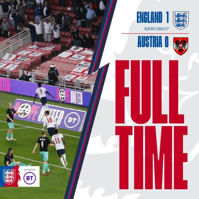 Skor akhir Inggris 1-0 Austria