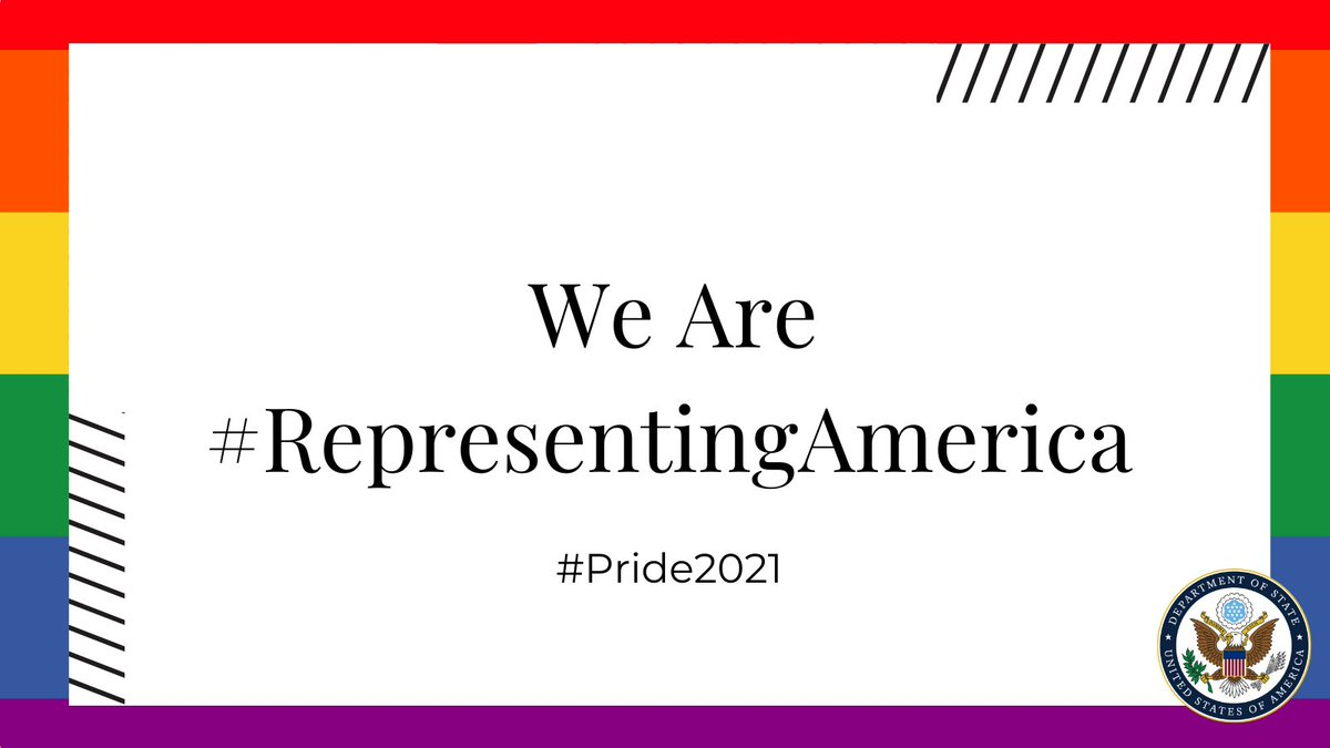 In June, we are celebrating #Pride2021 by highlighting the contributions of our LGBTQI+ colleagues advancing U.S. foreign policy and national security.  Follow #RepresentingAmerica to see how our workforce reflects the American people we serve. https://t.co/l3Xwugunjp https://t.co/jKvWljpzo2