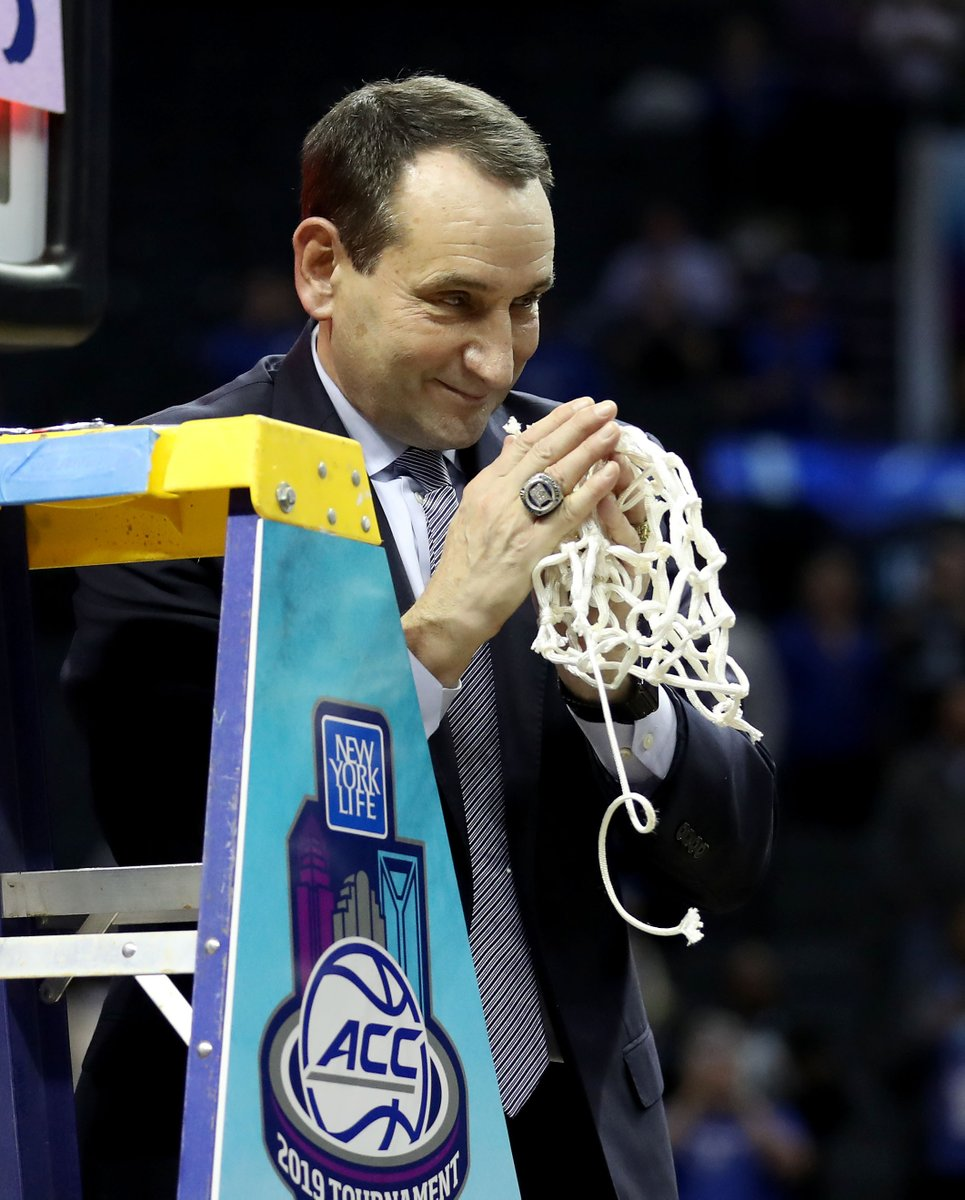 Coach K's resume is A1 🤯  - 5 national titles - 12 Final Four appearances - 12 ACC regular-season titles - 15 ACC tournament championships - Most wins ever with 1,170  Is he the GOAT college coach? https://t.co/AdtIEpY3Um