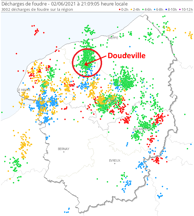 Le secteur de #Doudeville #Normandie a été touché par 2 #orages successifs bien électriques et très pluvieux cet après-midi. En 1 heure (15h-16h), la lame d'eau estimée dépasse 50 mm, soit l'équivalent de près d'1 mois de #pluie, causant de forts ruissellements. #inondations