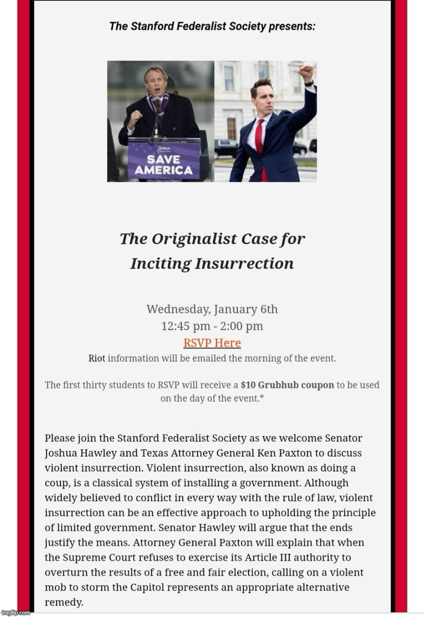 Here is the flyer that led Stanford to place a hold on Wallace's diploma following a complaint by a Stanford Federalist Society leader. https://t.co/sUg3Jvta3I