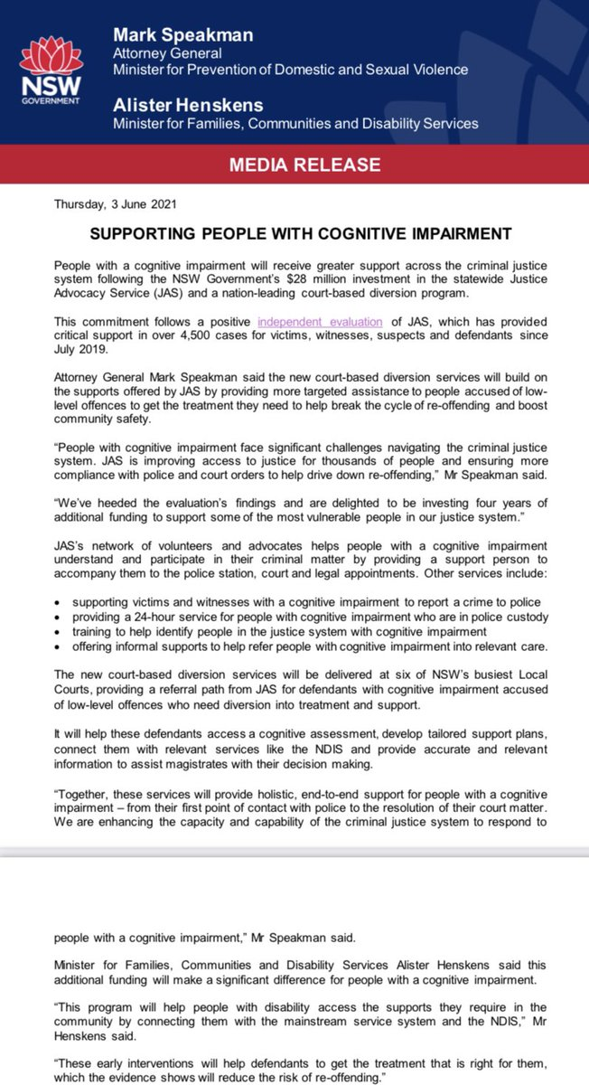 This is great news for people with cognitive impairment, who are grossly overrepresented in the criminal justice system, and follows a strong campaign by @IDRS_NSW @CIDvoice @FPDNAus 🙌🙌#JusticeMatters #auslaw #nswpol https://t.co/VEE4aJkx6q