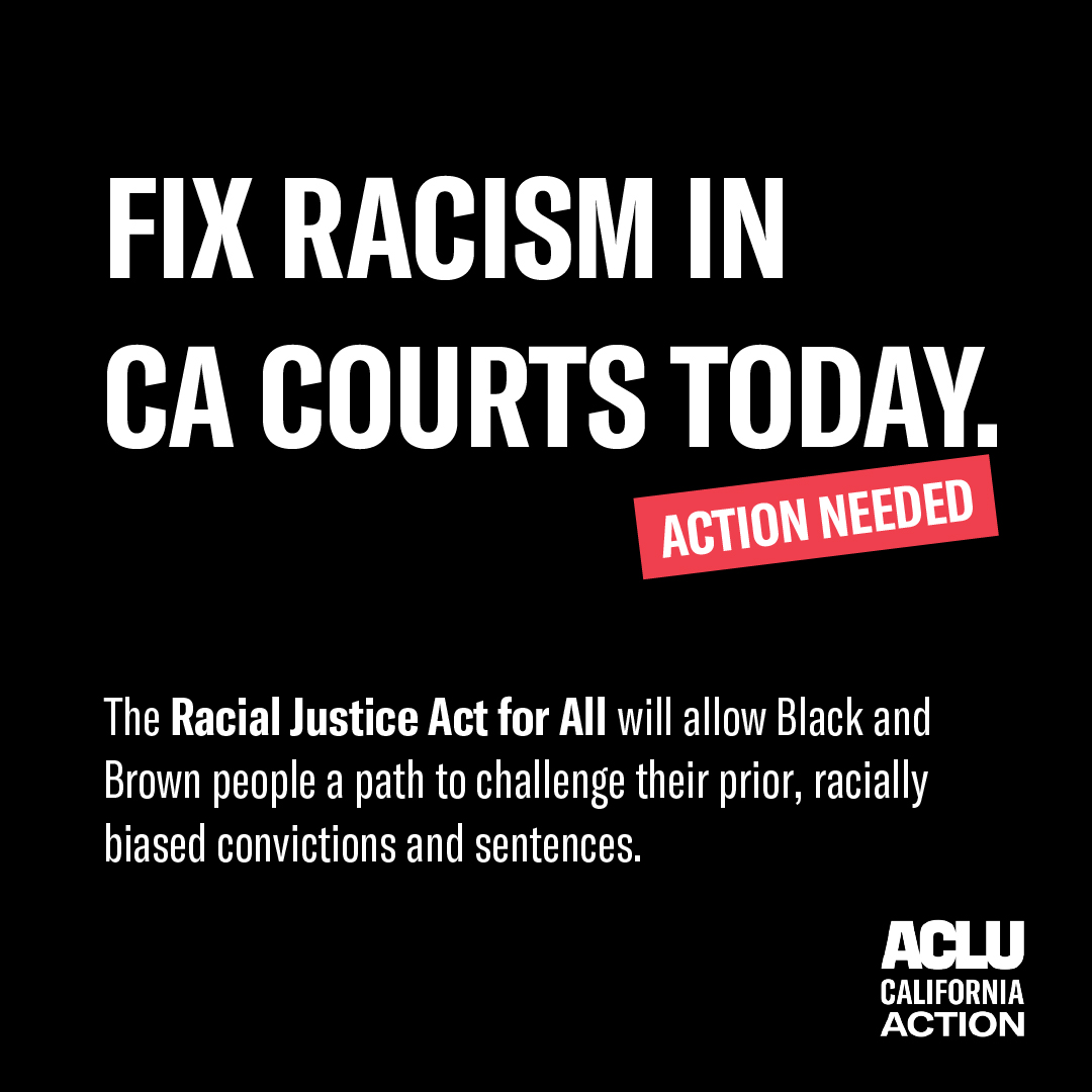 Everyone deserves an opportunity to pursue justice and challenge racist convictions and sentences—no matter how long ago it was.  Go to https://t.co/HIoPw4Ttqw to contact your #CALeg and tell them to vote YES on AB 256 – the Racial Justice Act for All. https://t.co/nthiAgqhTo