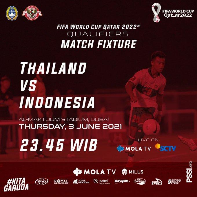 Timnasday: Thailand vs Indonesia, Kamis (3/6/2021) pukul 23.45 WIB