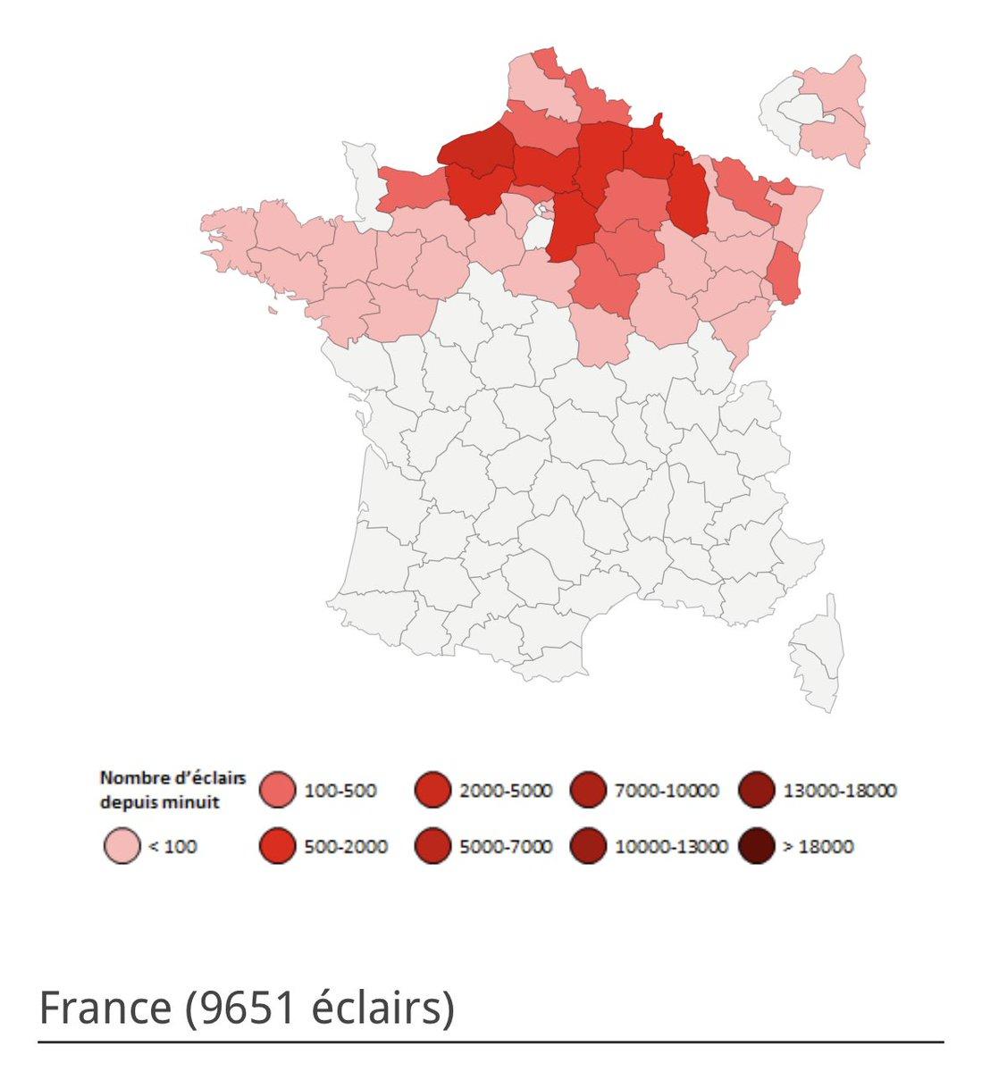 Près de 10000 #éclairs ont été comptabilisés hier lors de la dégradation orageuse. La #SeineMaritime, la #Meuse et l'#Aisne ont été les départements les plus touchés. Toutes nos stats sur notre page dédiée ->