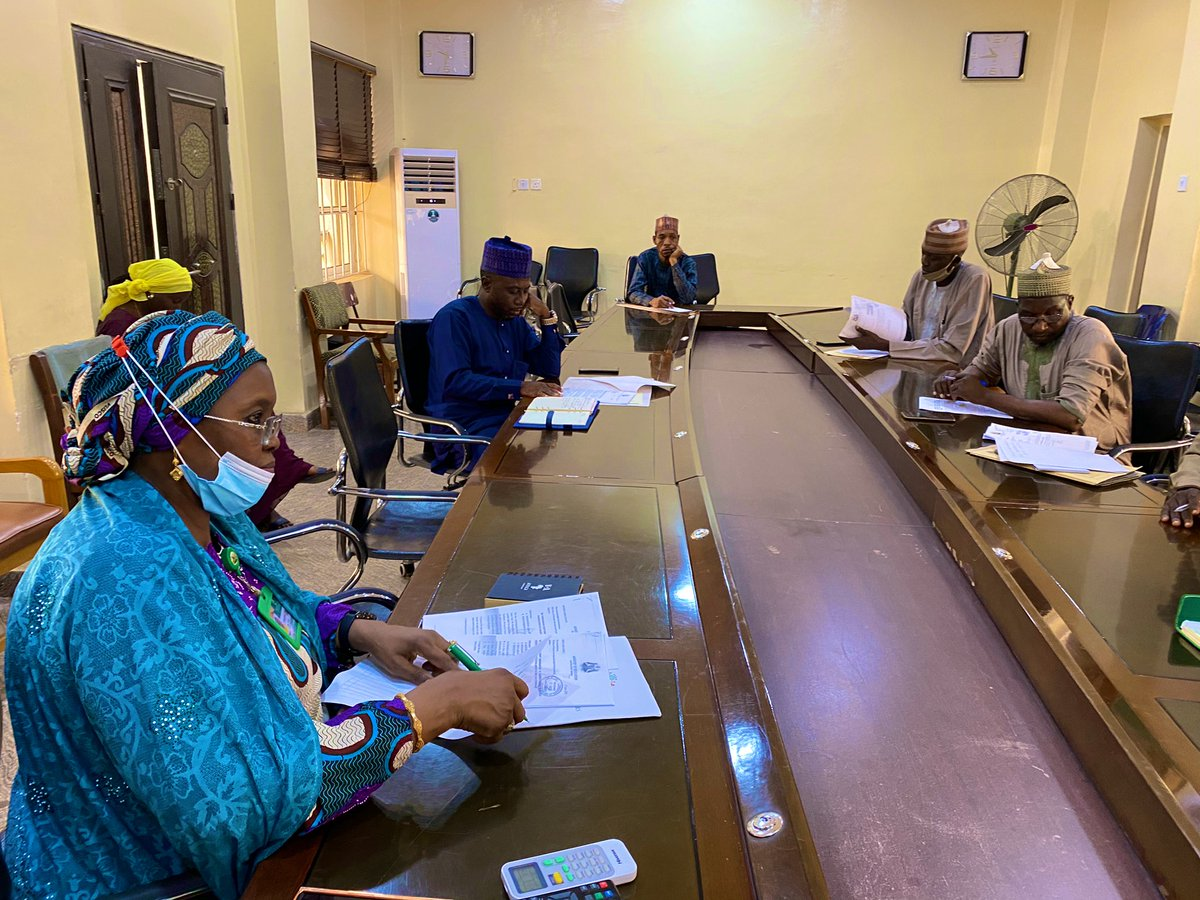 Comm. @HafsatMohBaba is at a meeting in the @Kaduna_MoE on the 10 Model Almajiri Schools to be developed in an equal-stakes partnership with @AMA_Foundation. The meeting seeks to concretise KDSG's equity & draw up a Plan of Action. Perm. Sec. @YayiPhoebe is in attendance.