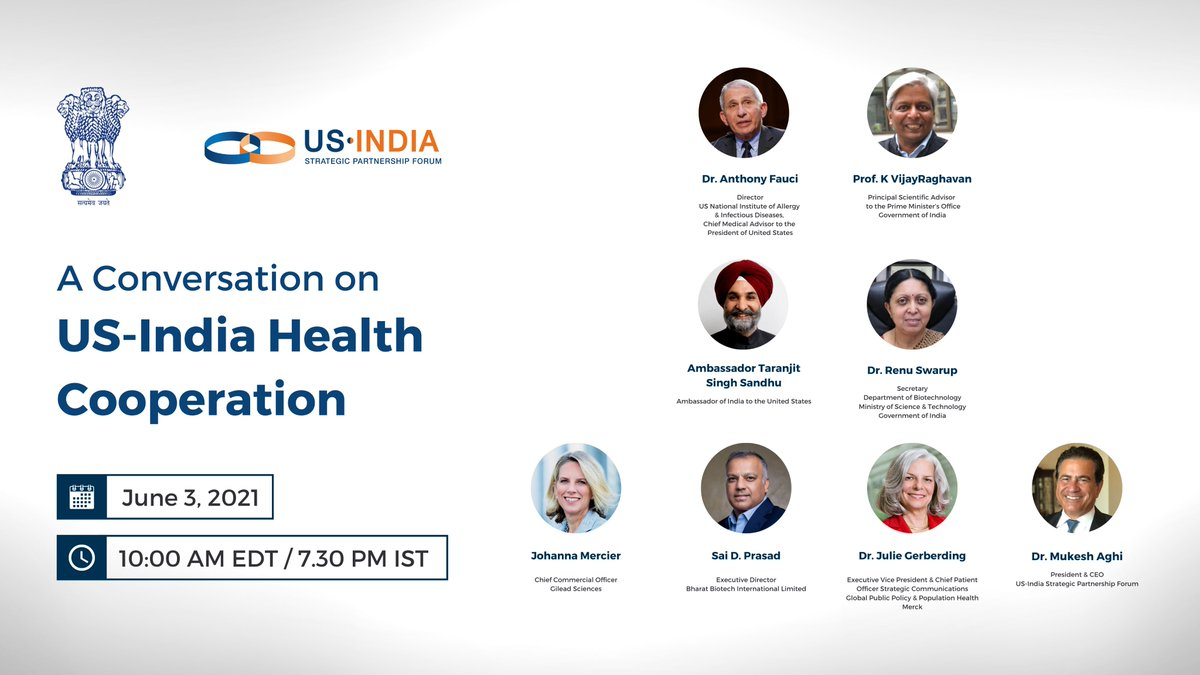 Discussion on #USIndia health cooperation today featuring Dr. Anthony Fauci, Dr. K Vijay Raghavan, Dr. Renu Swarup, and industry experts. The event will be live-streamed here: https://t.co/yPnrCS9E5B #usindiadosti @IndianEmbassyUS @SandhuTaranjitS @MukeshAghi https://t.co/I31rg6Amzr