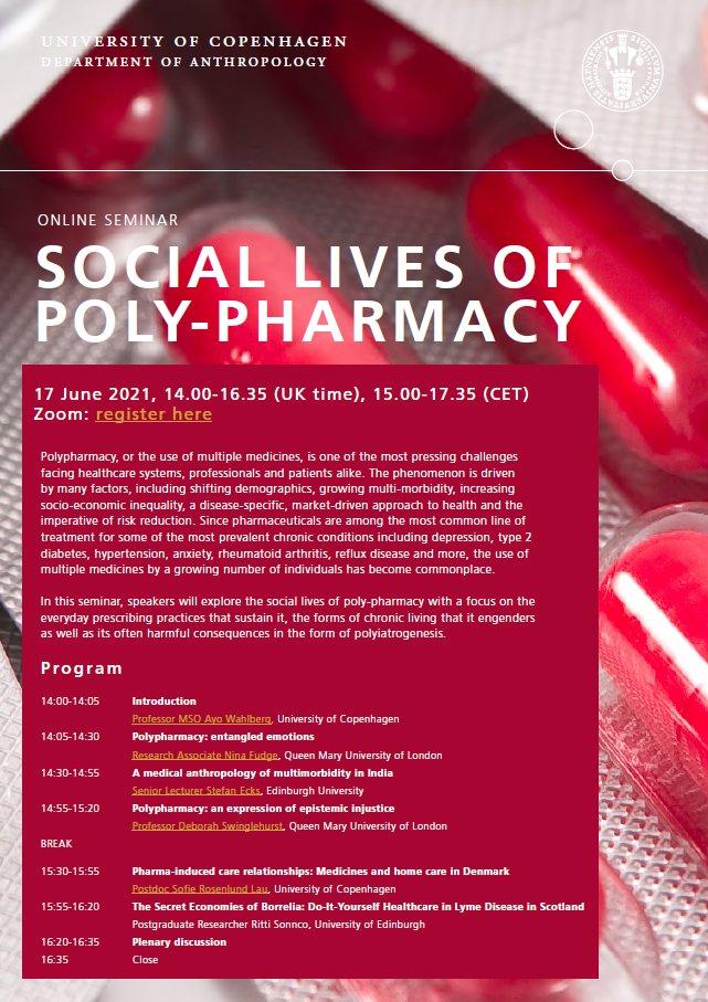 """💊💊💊💊Join us for an online seminar on the """"Social Lives of Poly-Pharmacy"""" 💊💊💊💊 w/ @stefanecks , @RittiSoncco, @lau_sofie, @ninafudge & Deborah Swinglehurst (@QMUL). 17 June 2021, 14-16.35 (UK time), 15-17.35 (CET)  Register here: https://t.co/9riiqBASEy https://t.co/UHYsyyEa5u"""