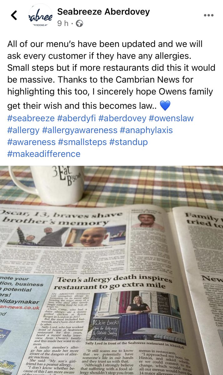 This is rather fab from @SeabreezeDovey (found on FB) #owenslaw #allergyapplause