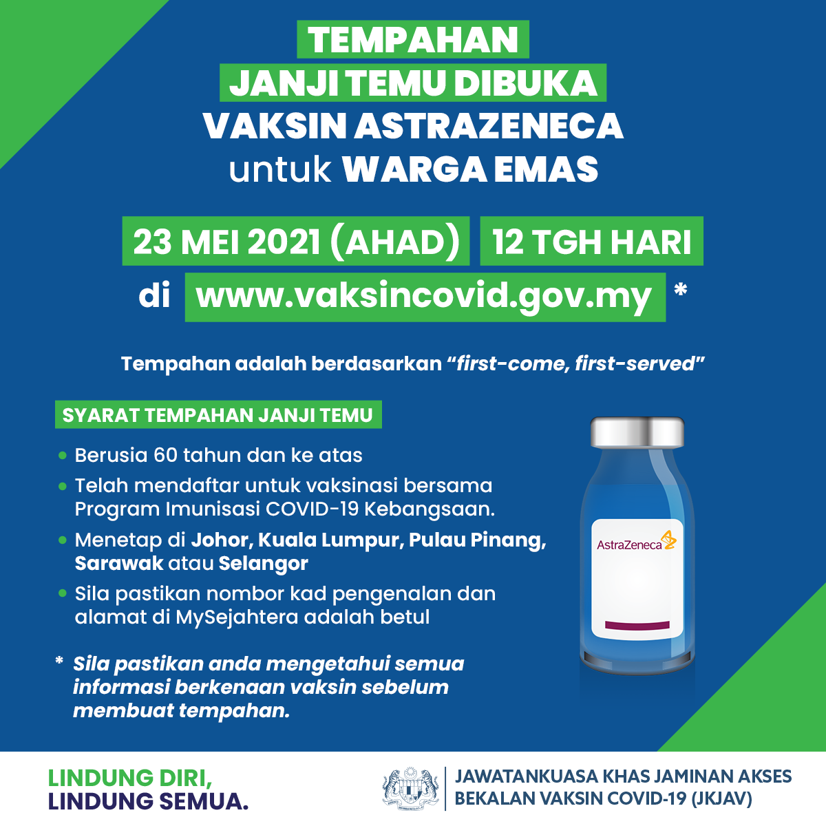 Vaksin Covid 19 On Twitter The Astrazeneca Vaccine Booking For Senior Citizens Is Now Open Book Your Slot Here Https T Co Obsmiwaj6o Open For Residents In Johor Penang Kuala Lumpur Sarawak Or Selangor First Come