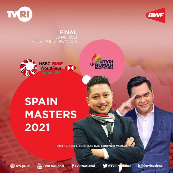 Final Spain Master 2021 Live TVRI mulai pukul 15.00 WIB
