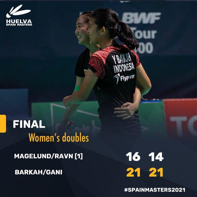 Final Ganda Putri Yulfira Barkah/Febby Valencia Dwijayanti vs Amalie Magelund/Frej Ravn: 21-16, 21-14