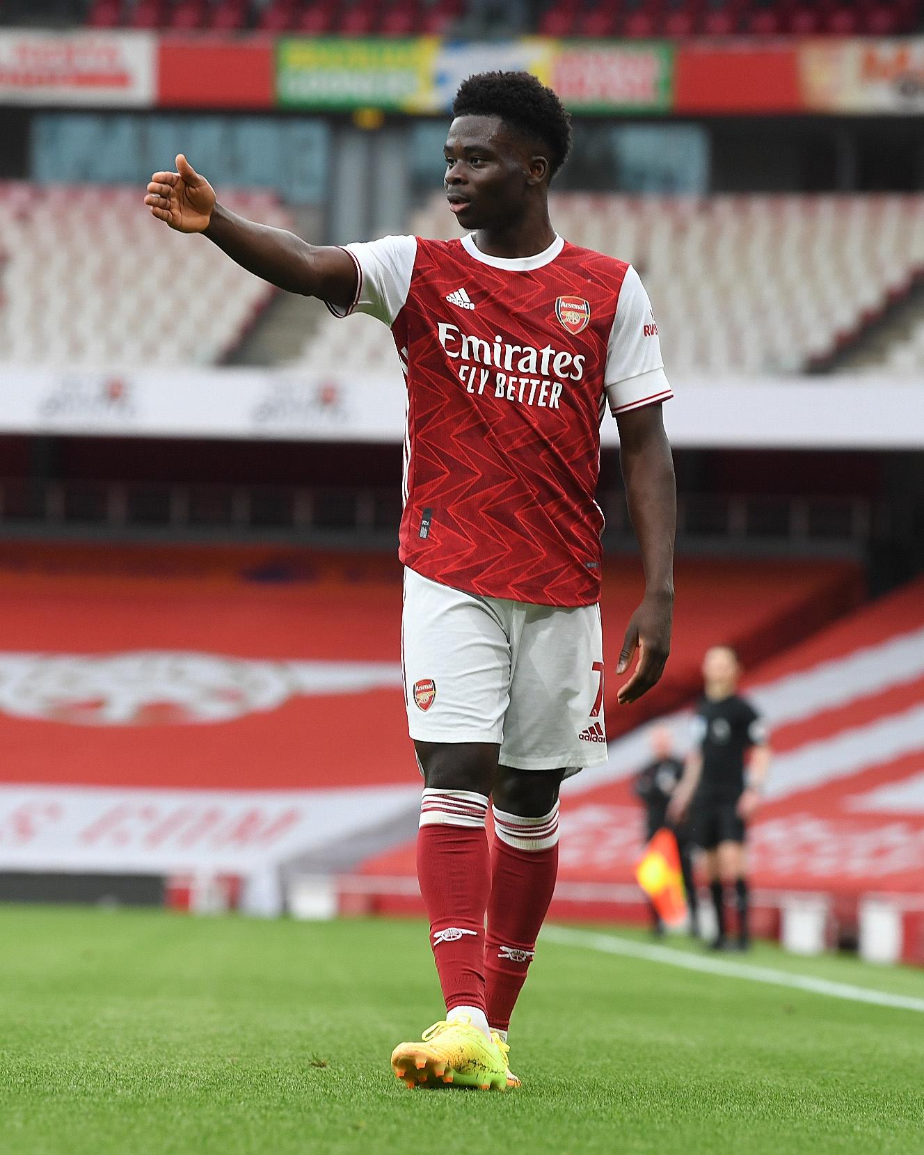 Bukayo Saka in action at the Emirates
